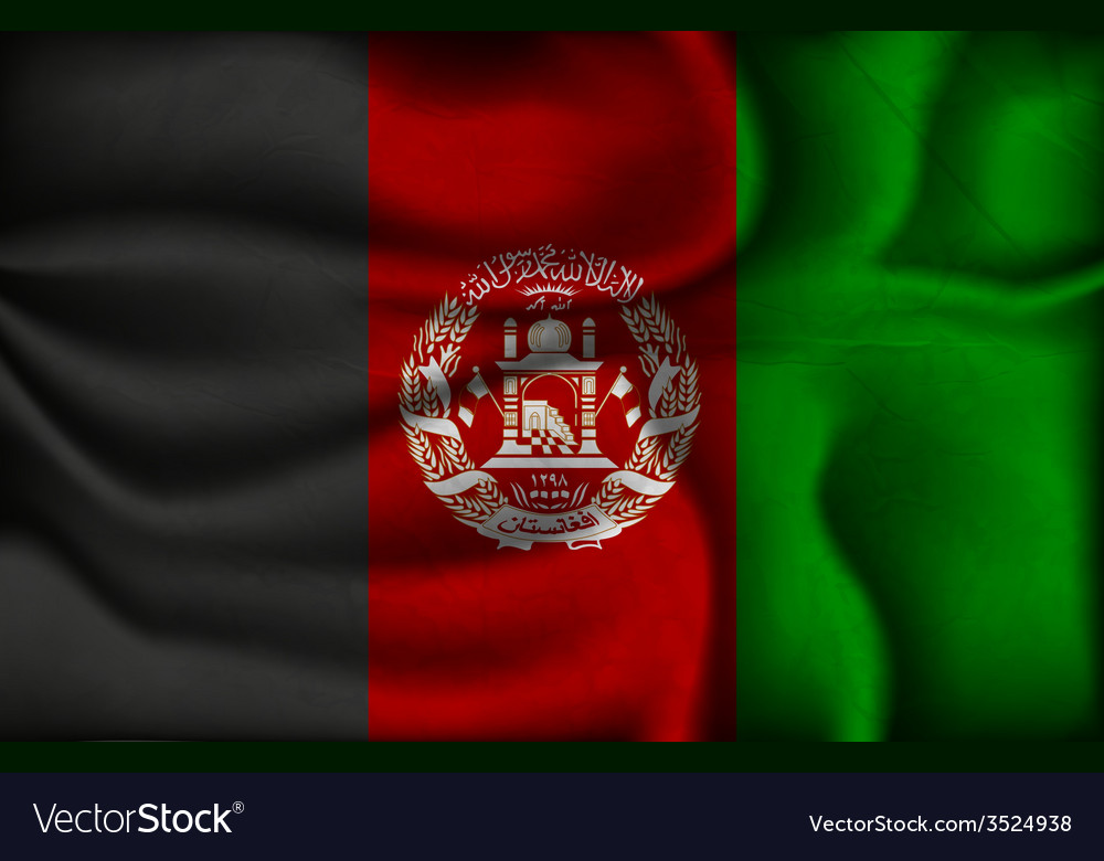 Crumpled flag of Afghanistan