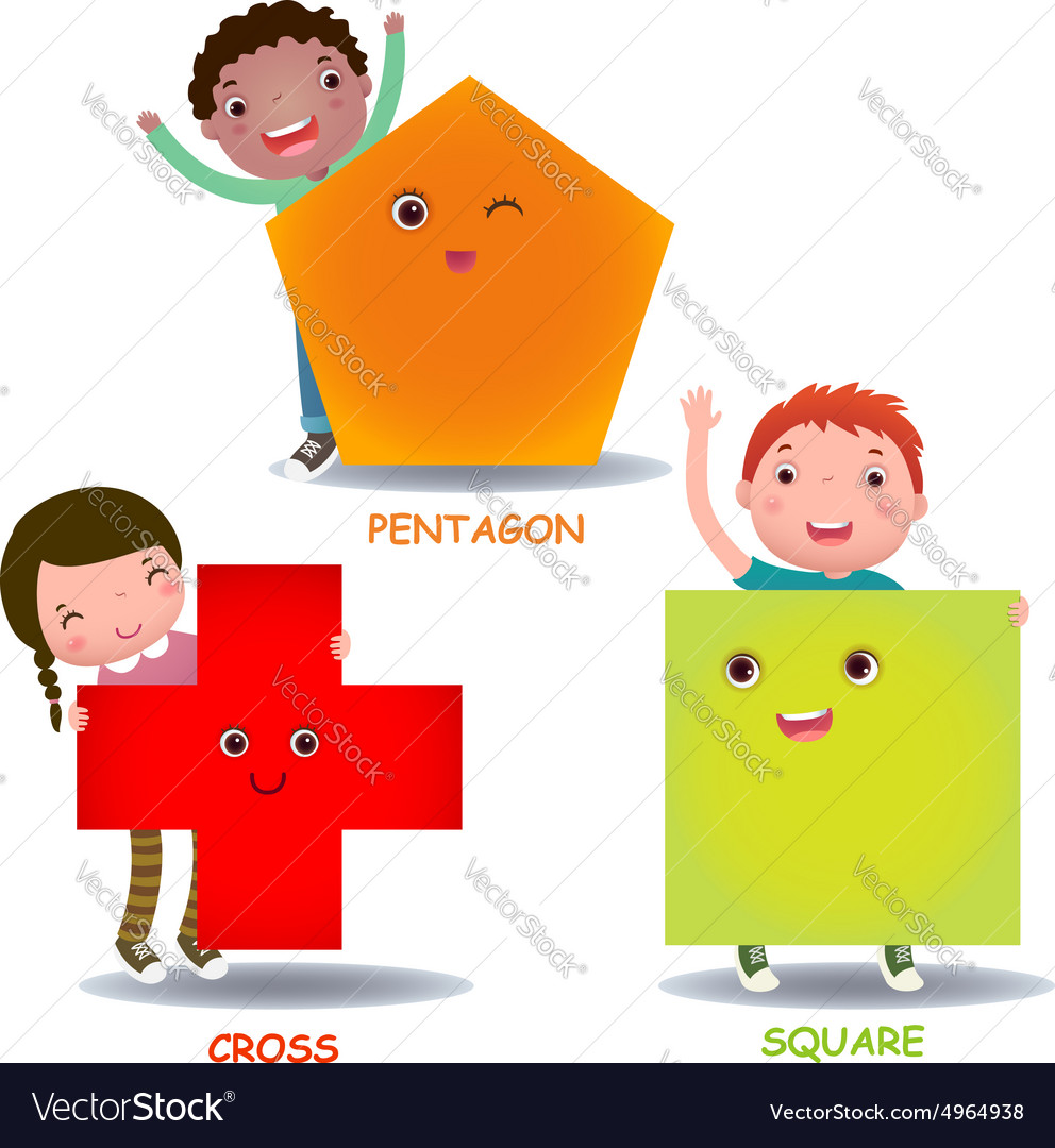 Cute little cartoon kids with basic shapes square