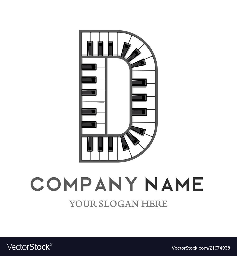 D letter logo design piano keyboard logo