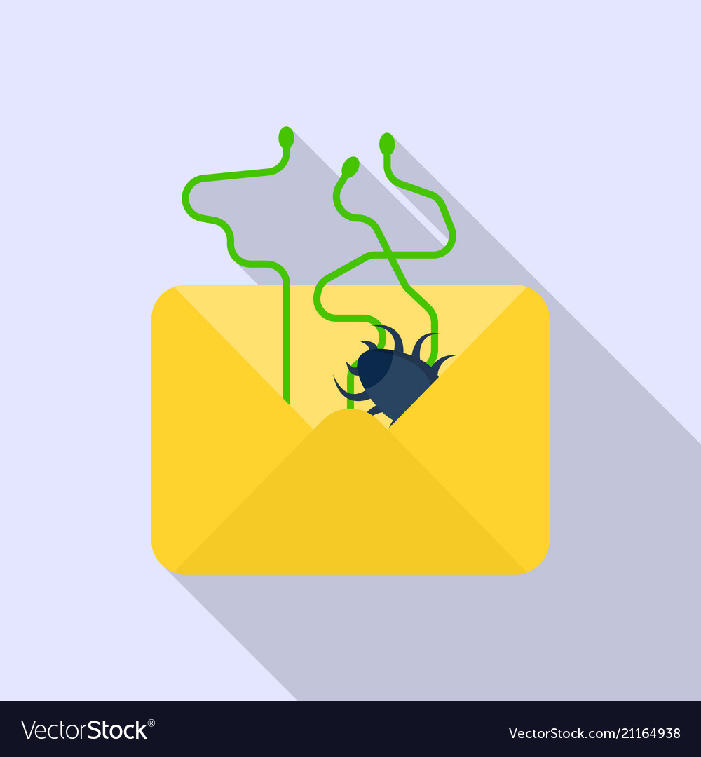 Email data spam icon flat style