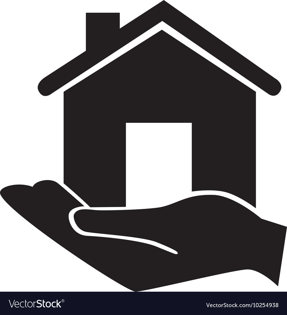 Hand holding house classic property icon