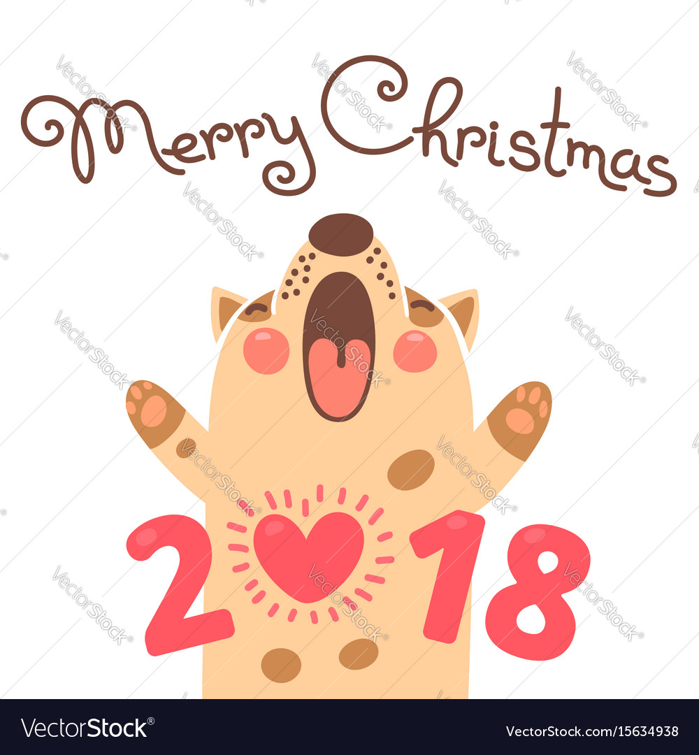 2018 card with dog funny puppy Vector Image