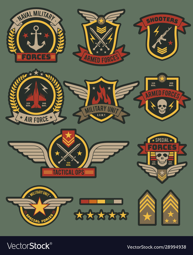 Military army badges patches soldier chevrons