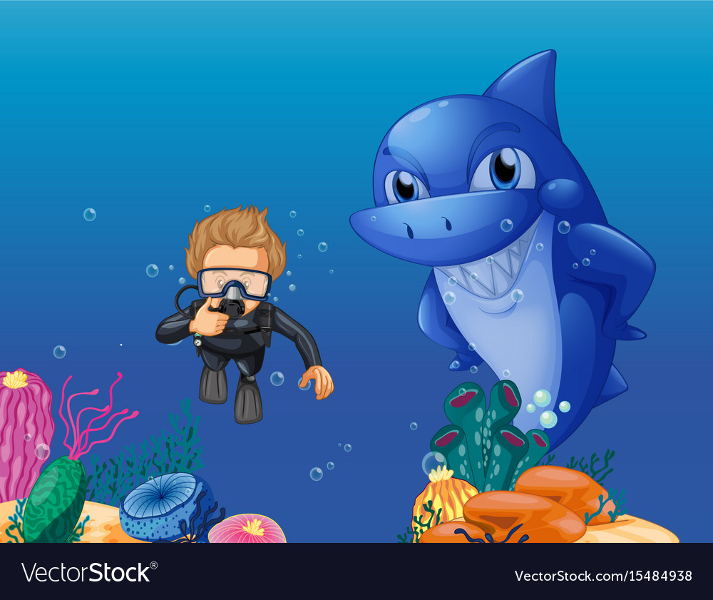 Scuba Diver And Shark Underwater Royalty Free Vector Image