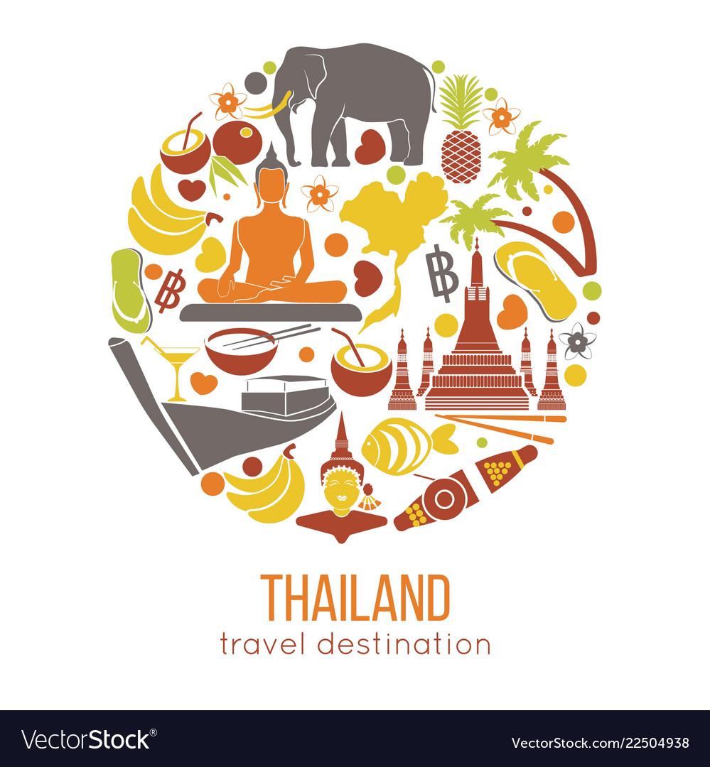 Set of thailand travel symbols and bangkok