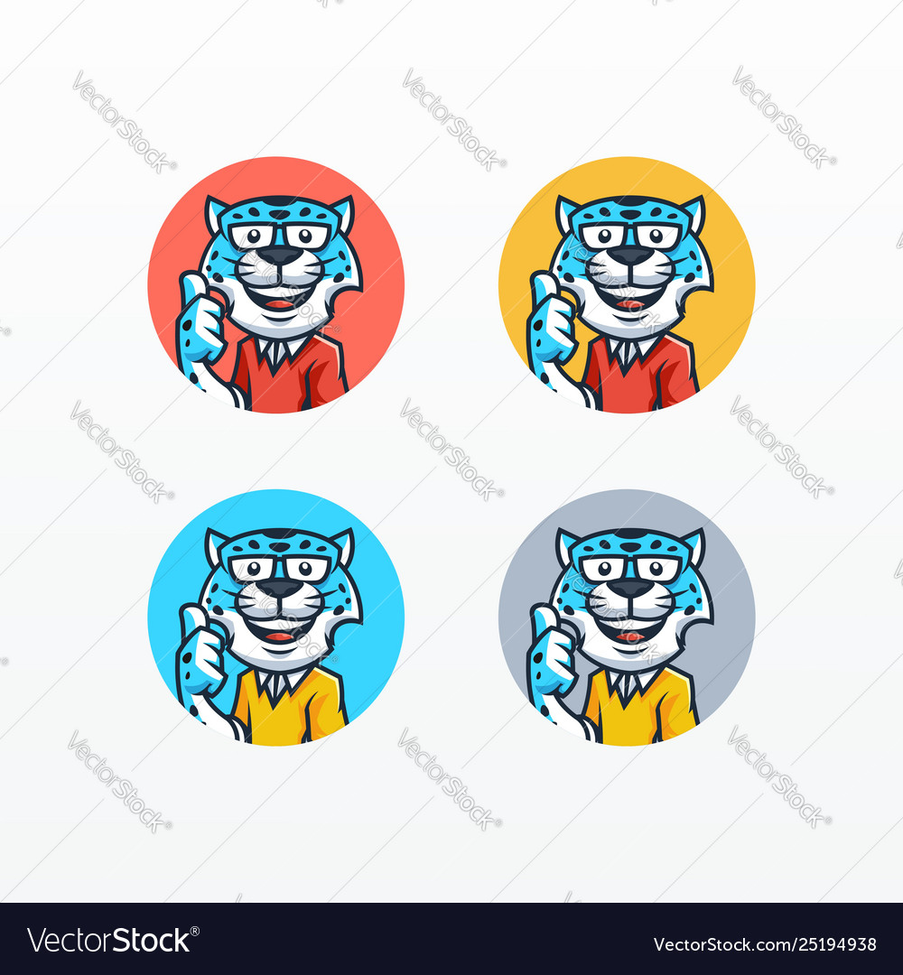 Snow leopard mascot set template