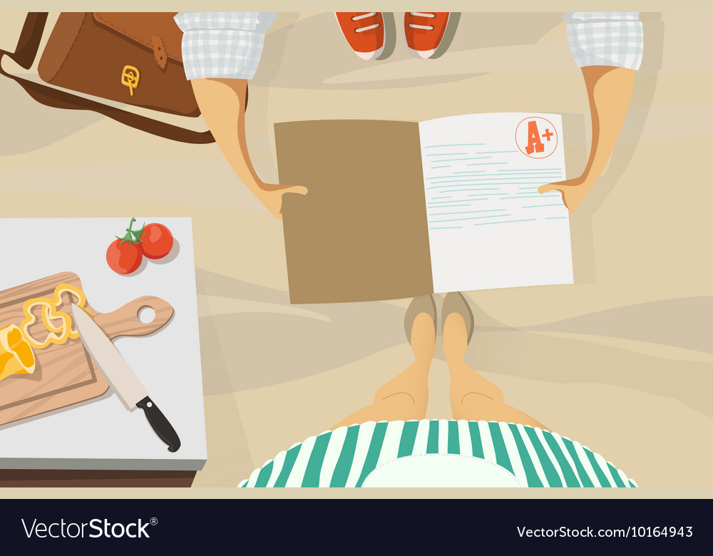 Back to school Son shows the evaluation mother vector image