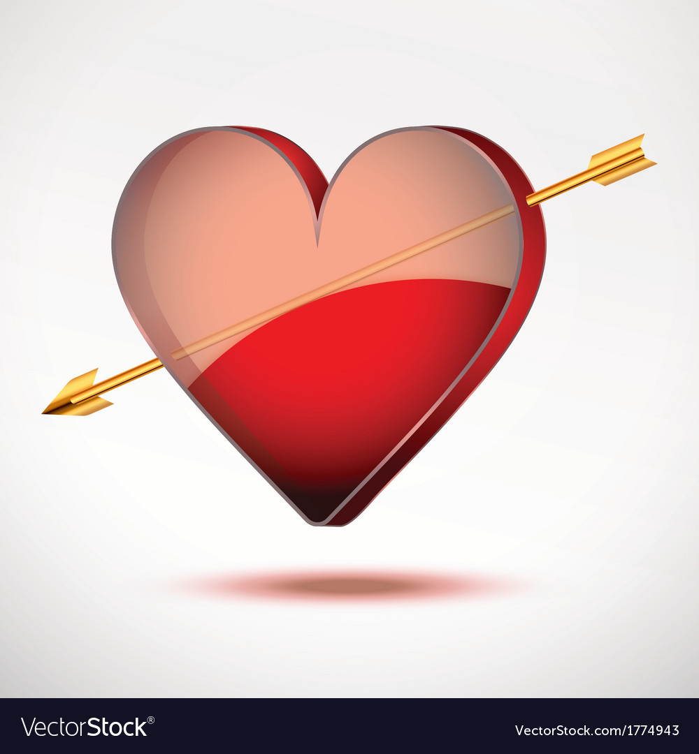 Background Heart and arrow Valentines Day Card vector image