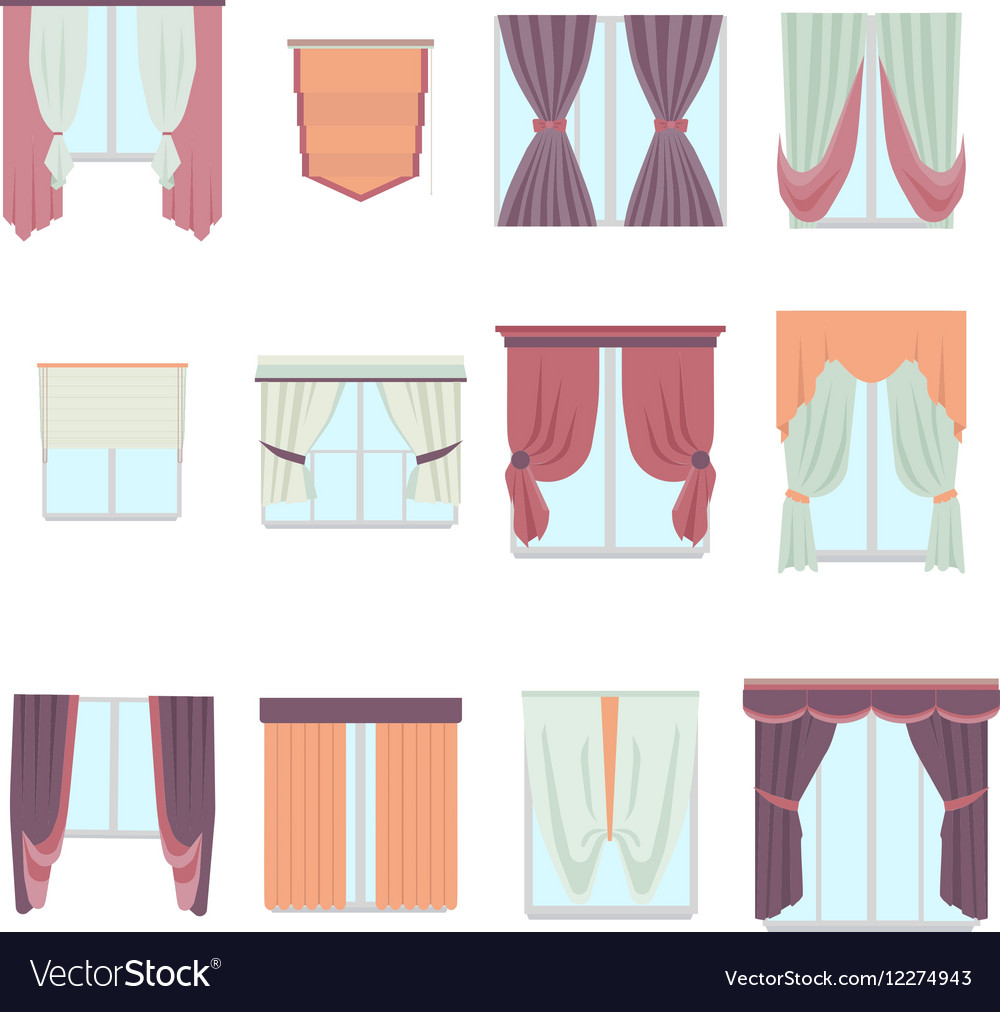 Big collection of various window decoration vector image