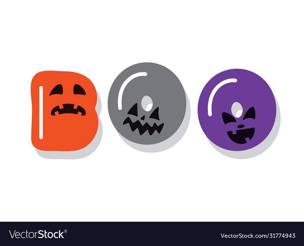 Boo halloween icon cartoon letters with creepy