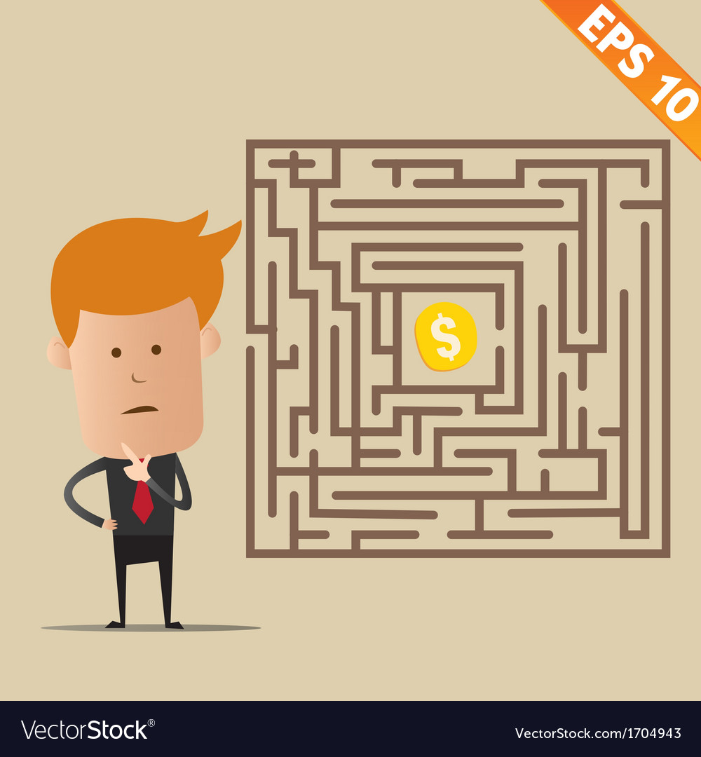 Business man finding exit route of labyrinth vector image
