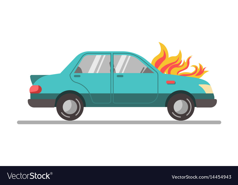 Car with burning engine