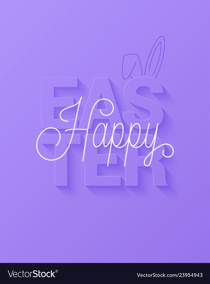 Easter card happy easter sign on violet