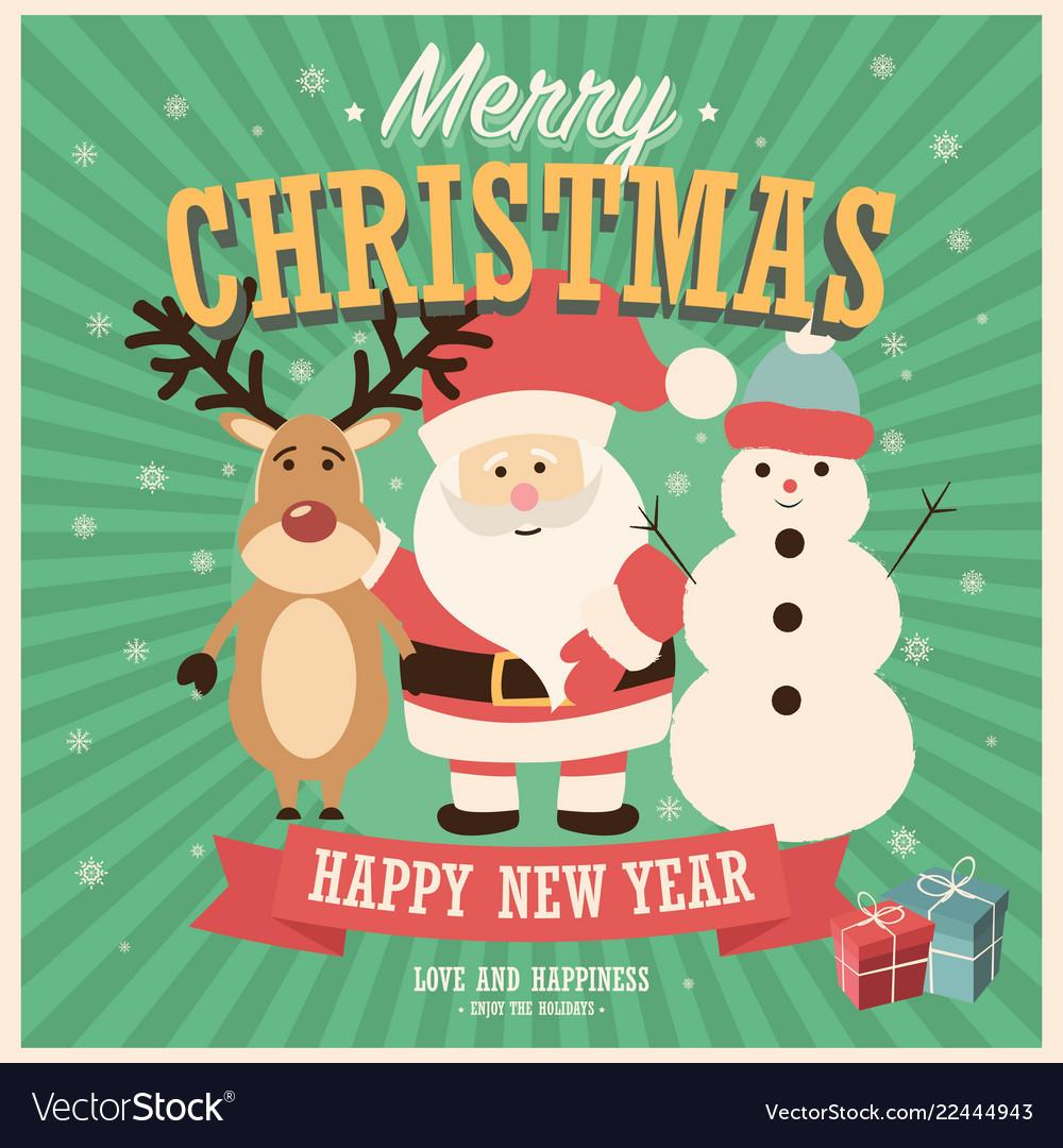Merry christmas card with santa claus snowman