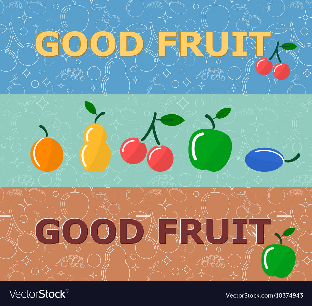 Set of horizontal banners with fruits on bright