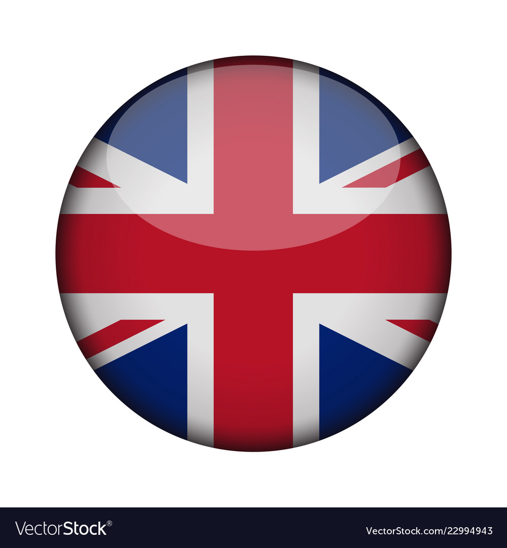 United Kingdom Flag In Glossy Round Button Of