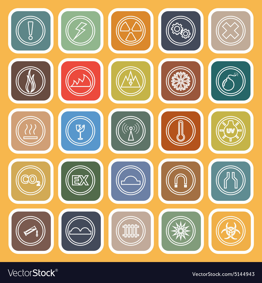 Warning sign line flat icons on yellow background vector image