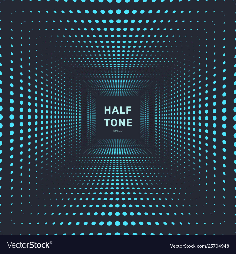 Abstract blue color halftone room perspective