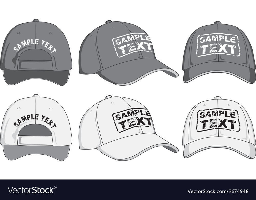 f476493c Baseball cap front back and side view Royalty Free Vector