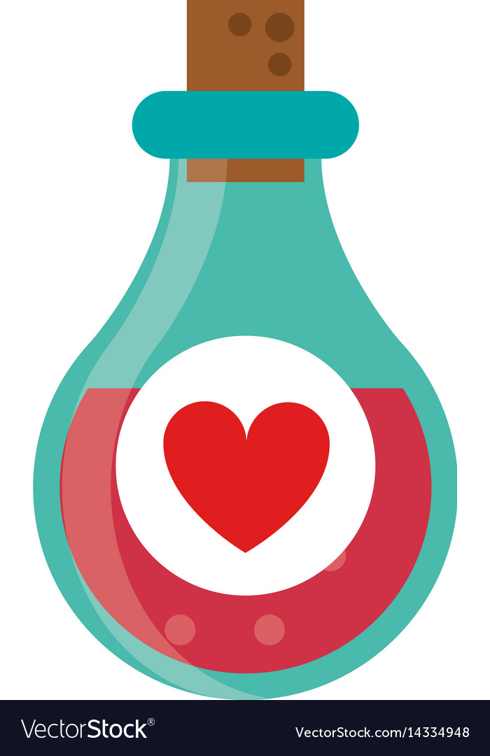 Bottle elixir love potion vector image