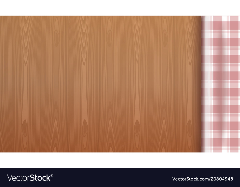 Checkered tablecloth on a wood background vector image on VectorStock