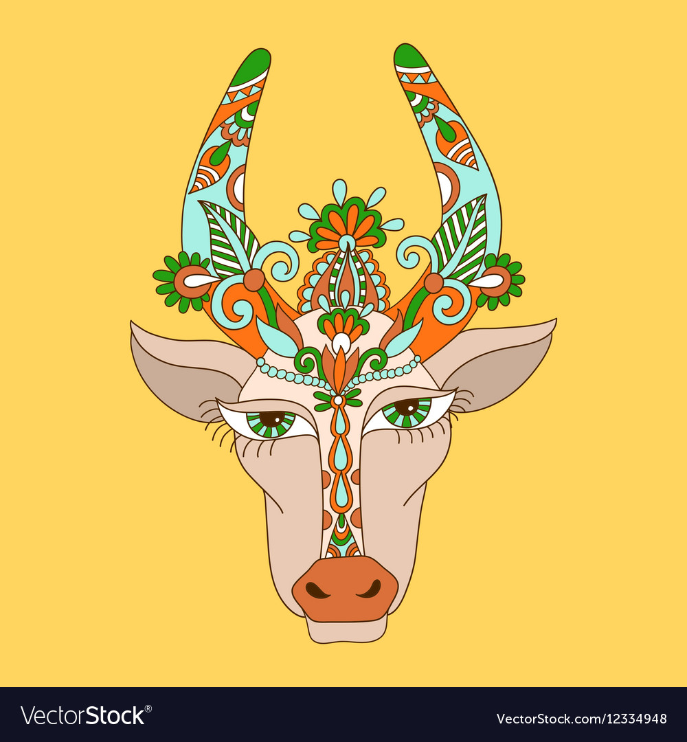 Line decorative drawing of indian cow head floral