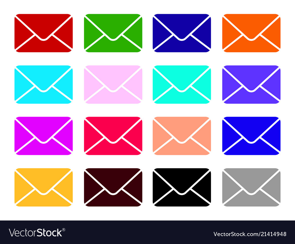 Mail icons set envelope sign color email