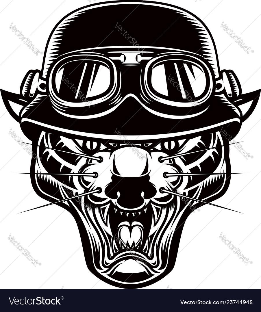 Pantera head in biker helmet design element