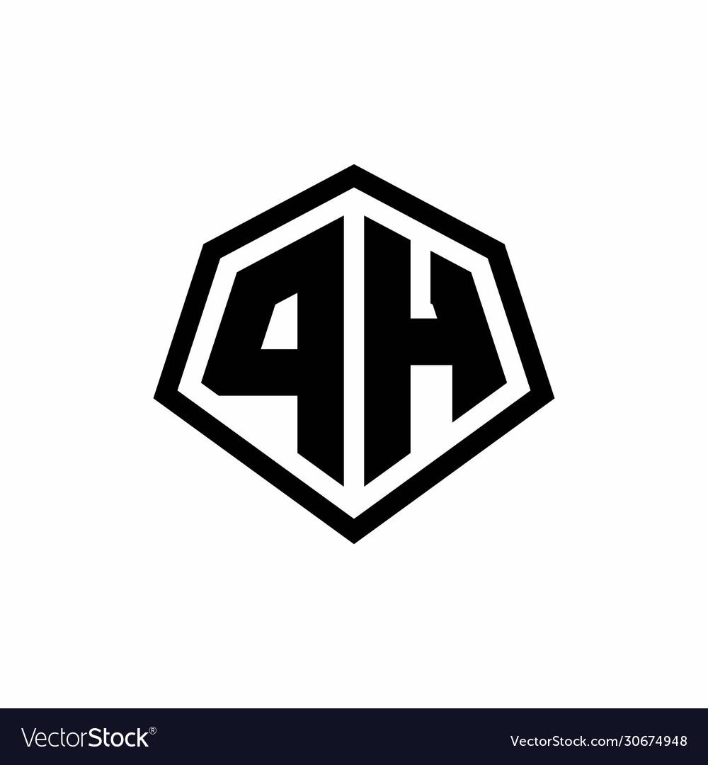 Ph Monogram Logo With Hexagon Shape And Line Vector Image