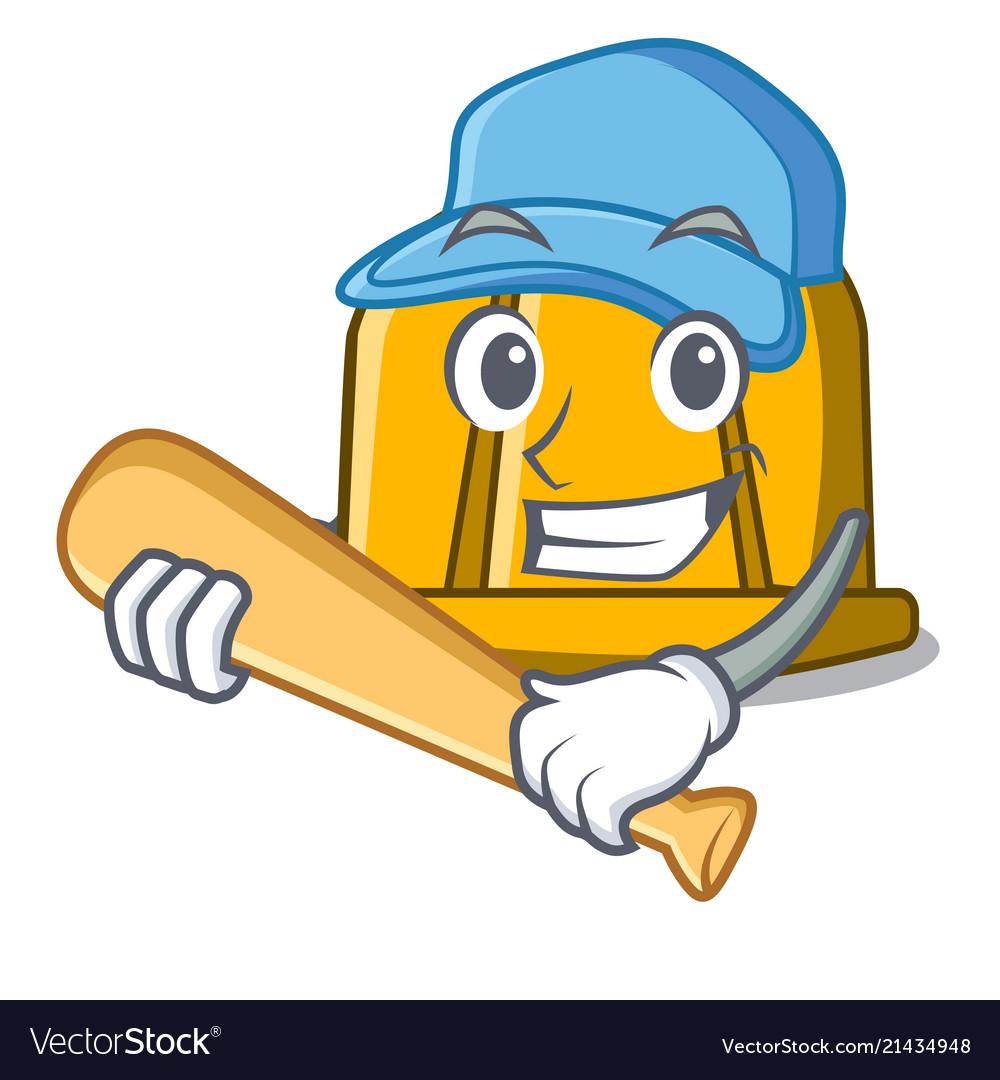 Playing baseball construction helmet character