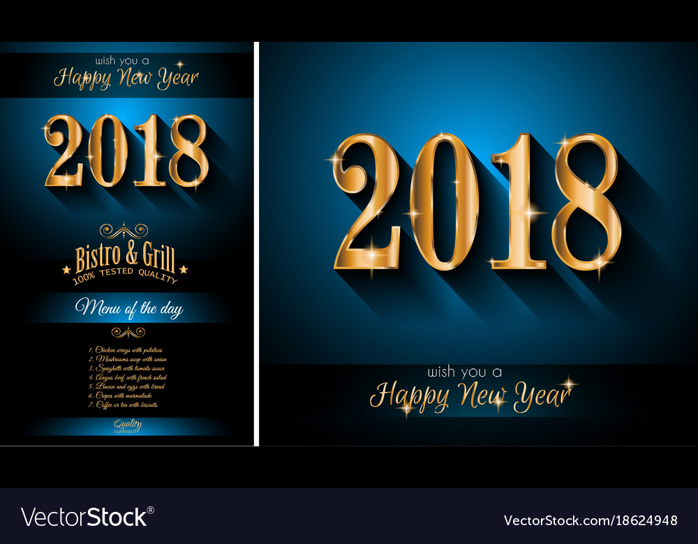 restaurant menu template for 2018 new year vector image