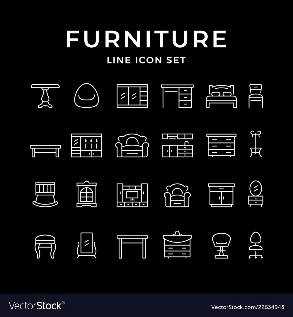 Set line icons of furniture