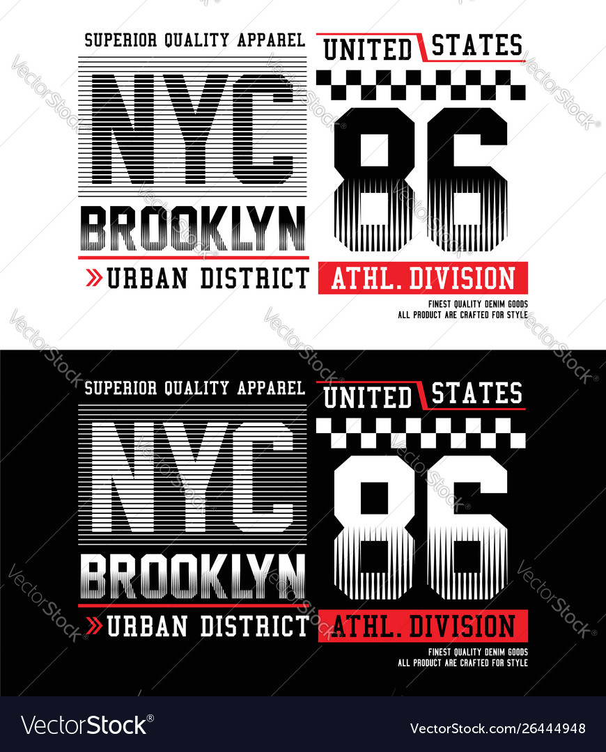 Typography nyc brooklyn 86 with race flag