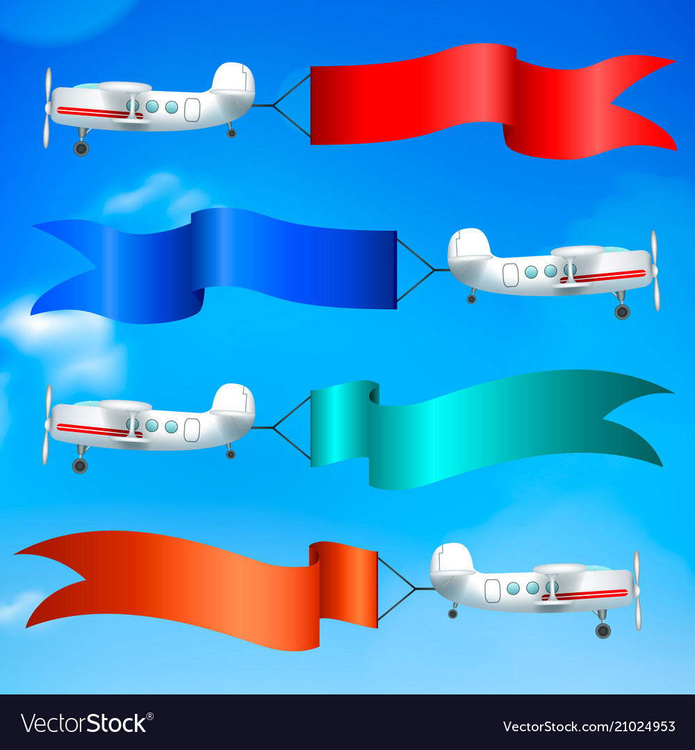 Airplanes flags banners realistic
