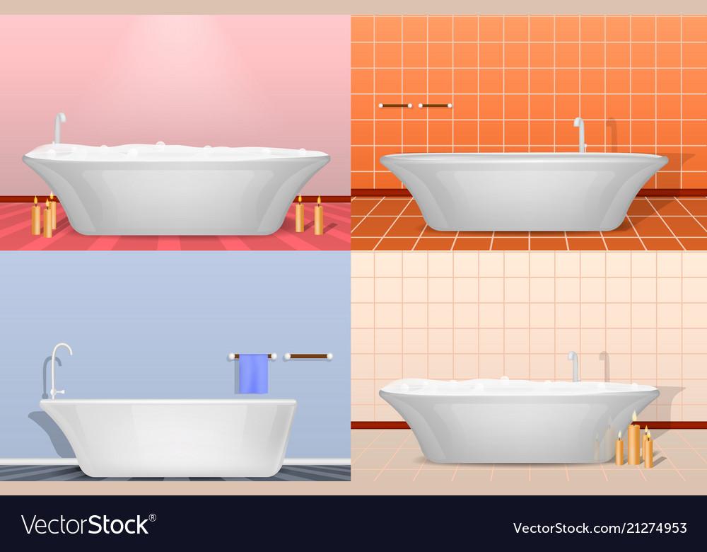 Bathtub interior mockup set realistic style Vector Image