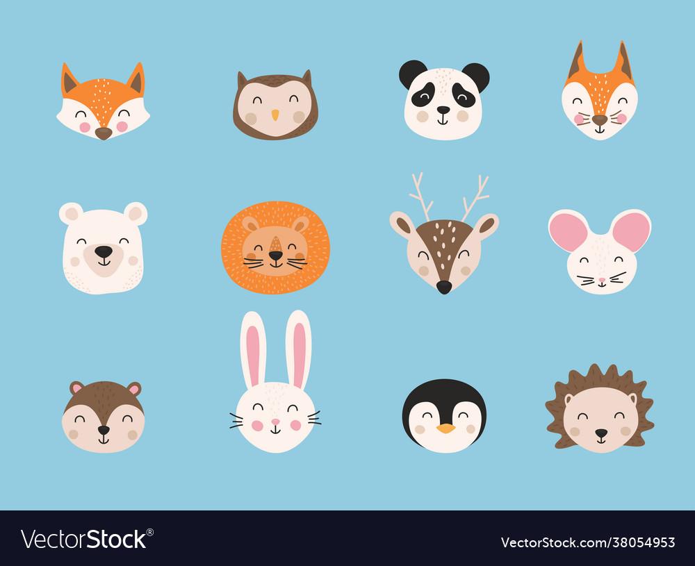 Cartoon cute animals hand drawn characters