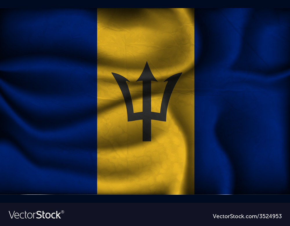 Crumpled flag of Barbados on a light background vector image