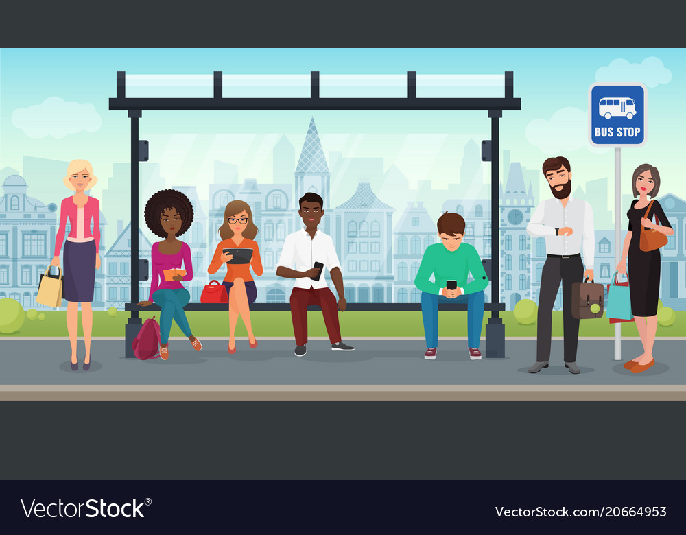 People were sitting at the modern bus stop