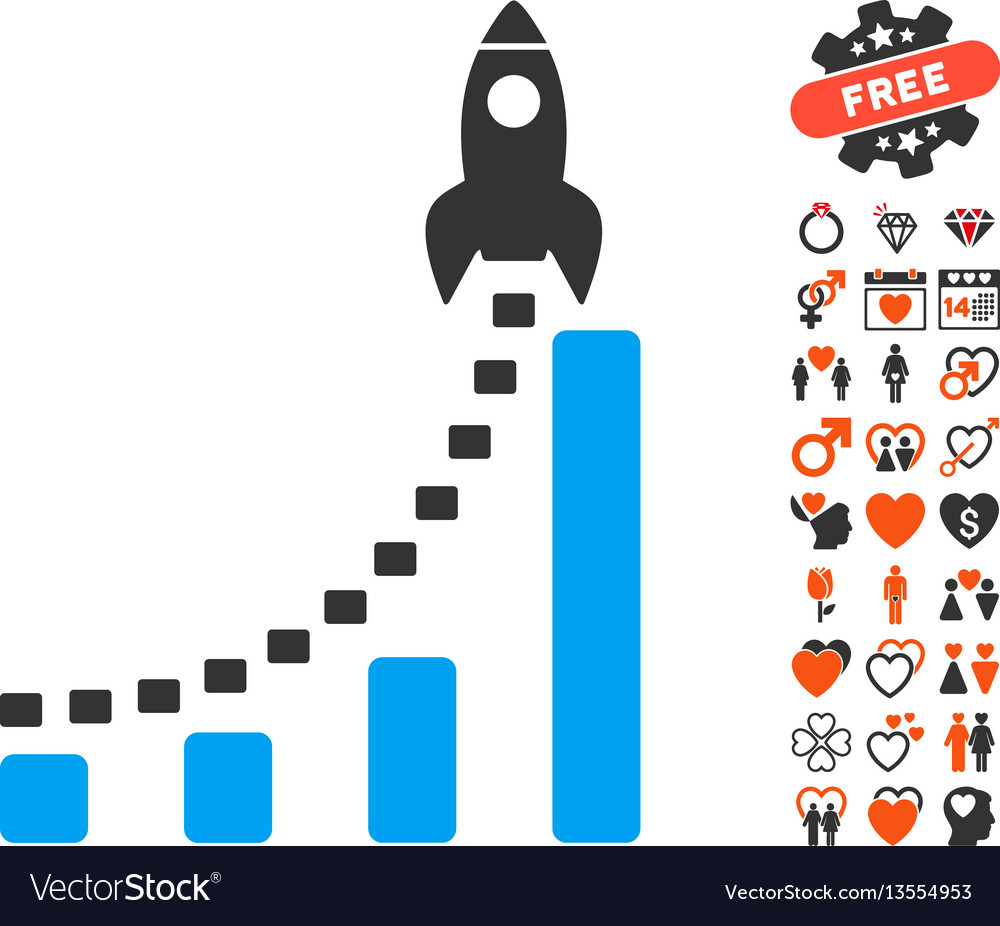 Rocket business start icon with love bonus