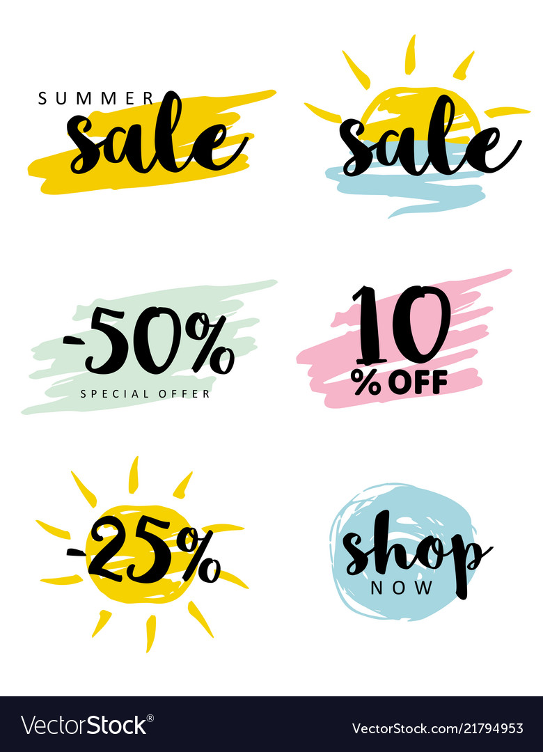 Salebrush stroke simple discount icons set