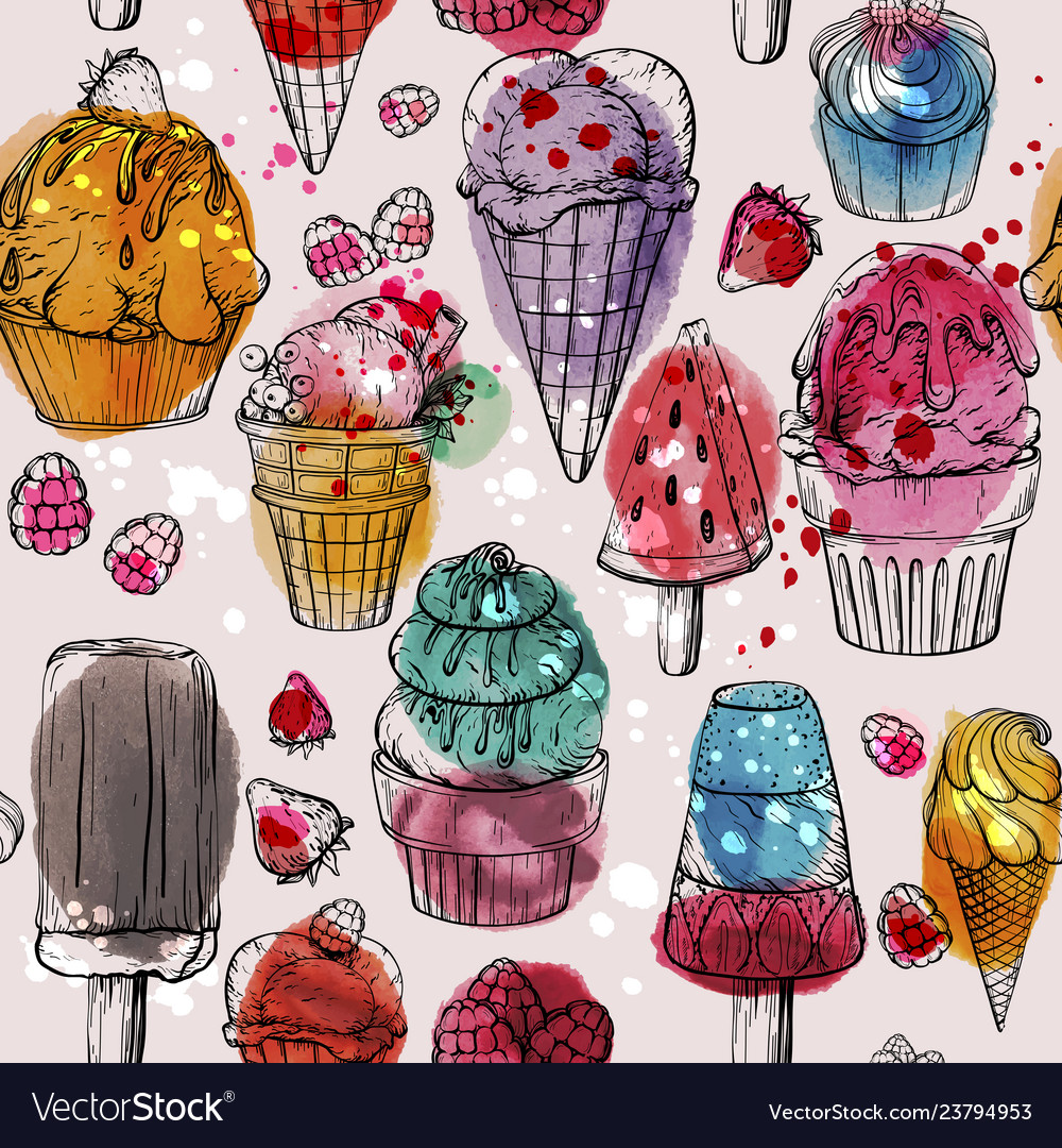 Seamless pattern with yummy colorful watercolor