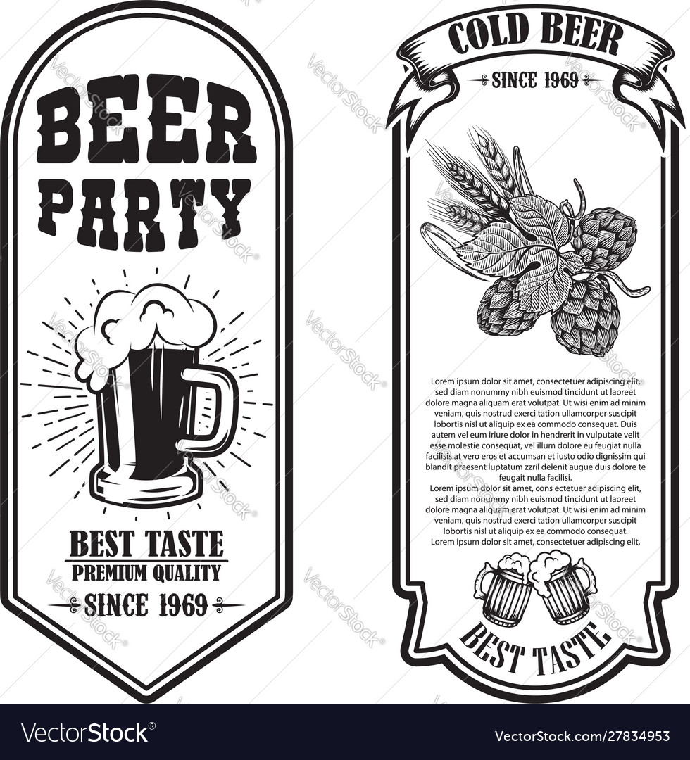 Set beer flyers with hop and beer mug design