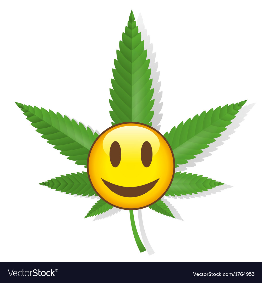 Smiling cannabis sign vector image