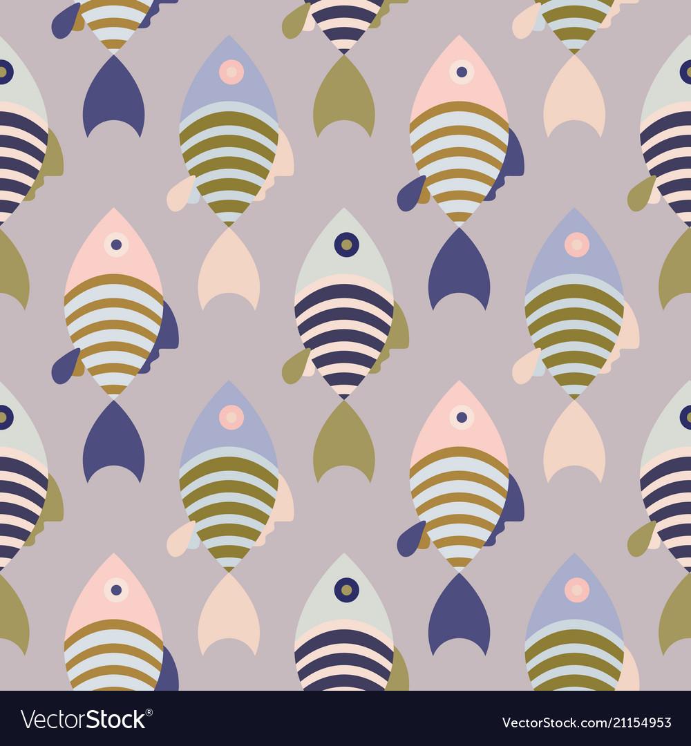 Striped cartoon fish seamless pattern