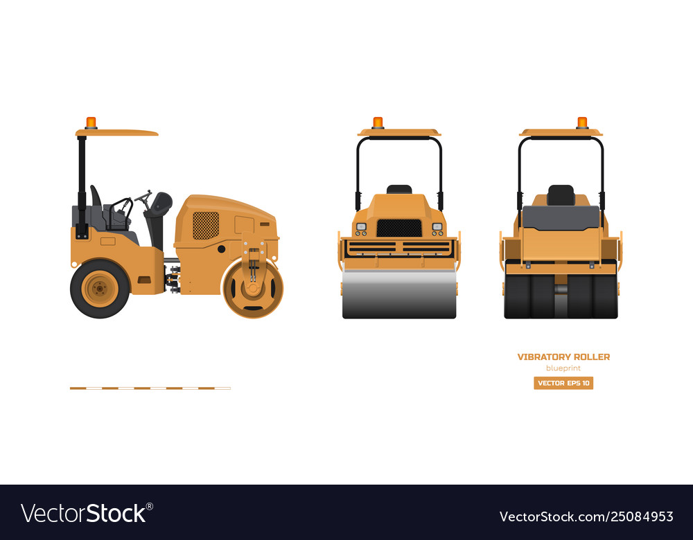 Vibratory roller in realistic style