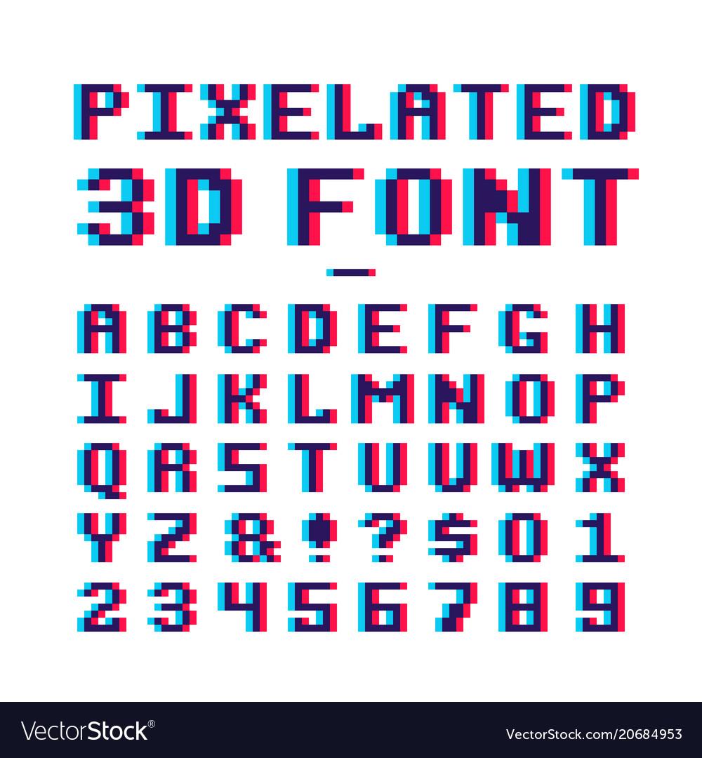 video-game-pixelated-3d-font-8-bit-pixel-art-old-vector-20684953 Pixel Art Text @koolgadgetz.com.info