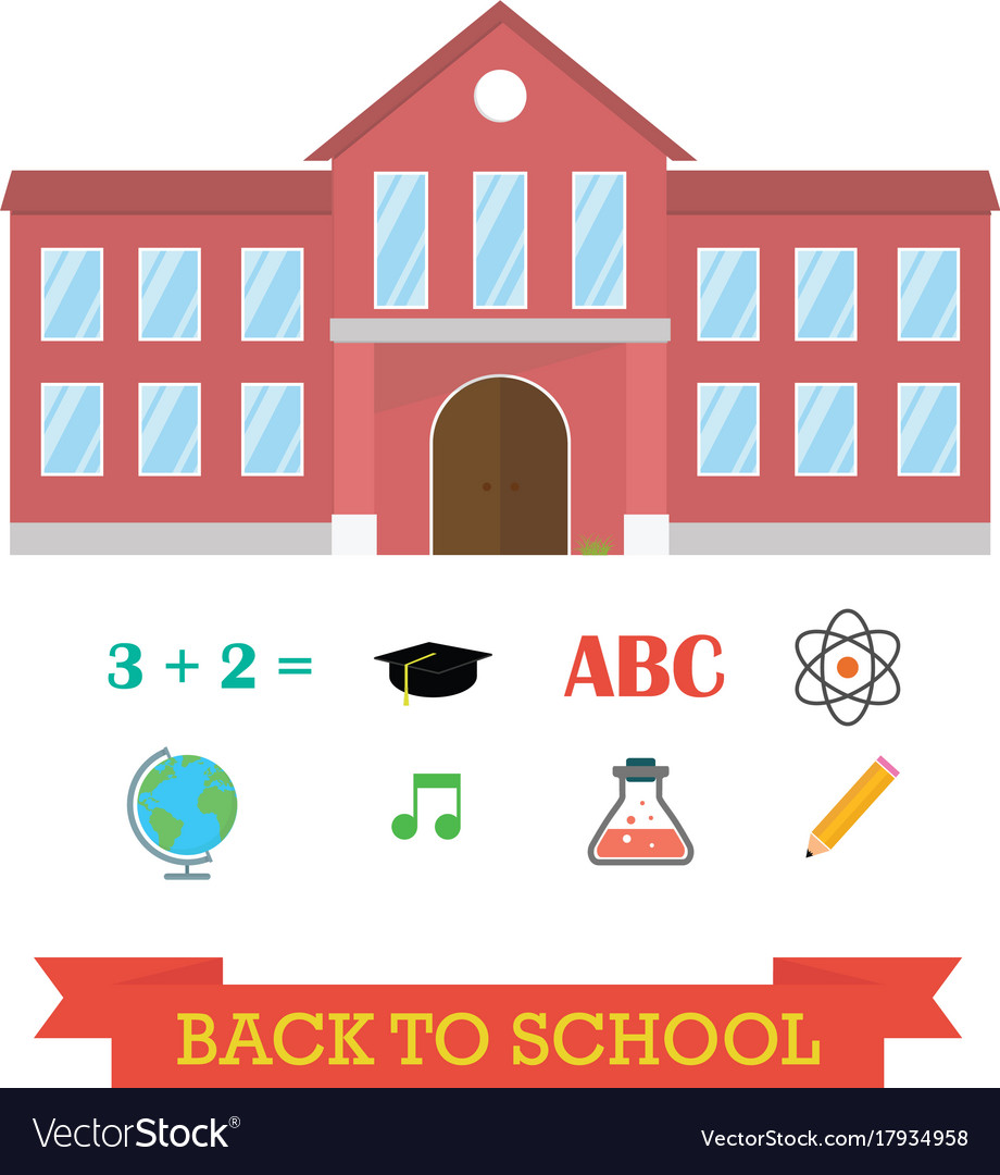 Back to school concept school building with icon