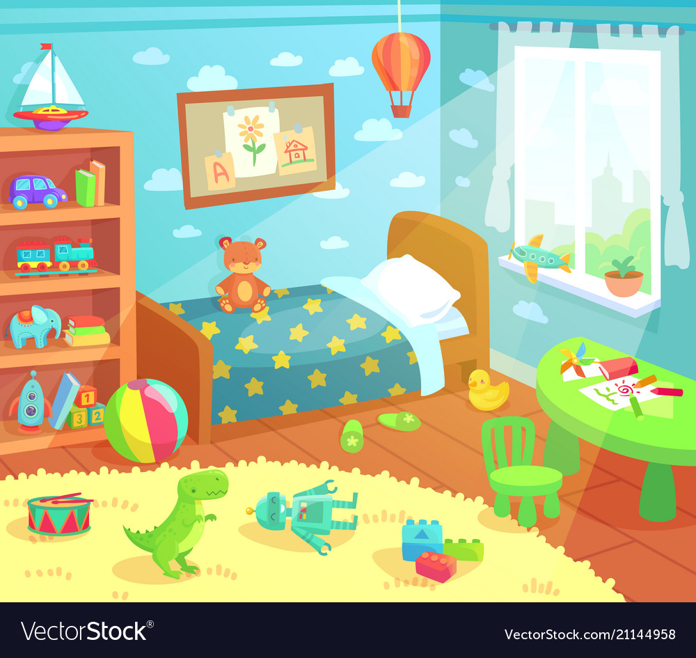 1000 Images About Kids Bedroom On Pinterest: Cartoon Kids Bedroom Interior Home Childrens Room Vector Image