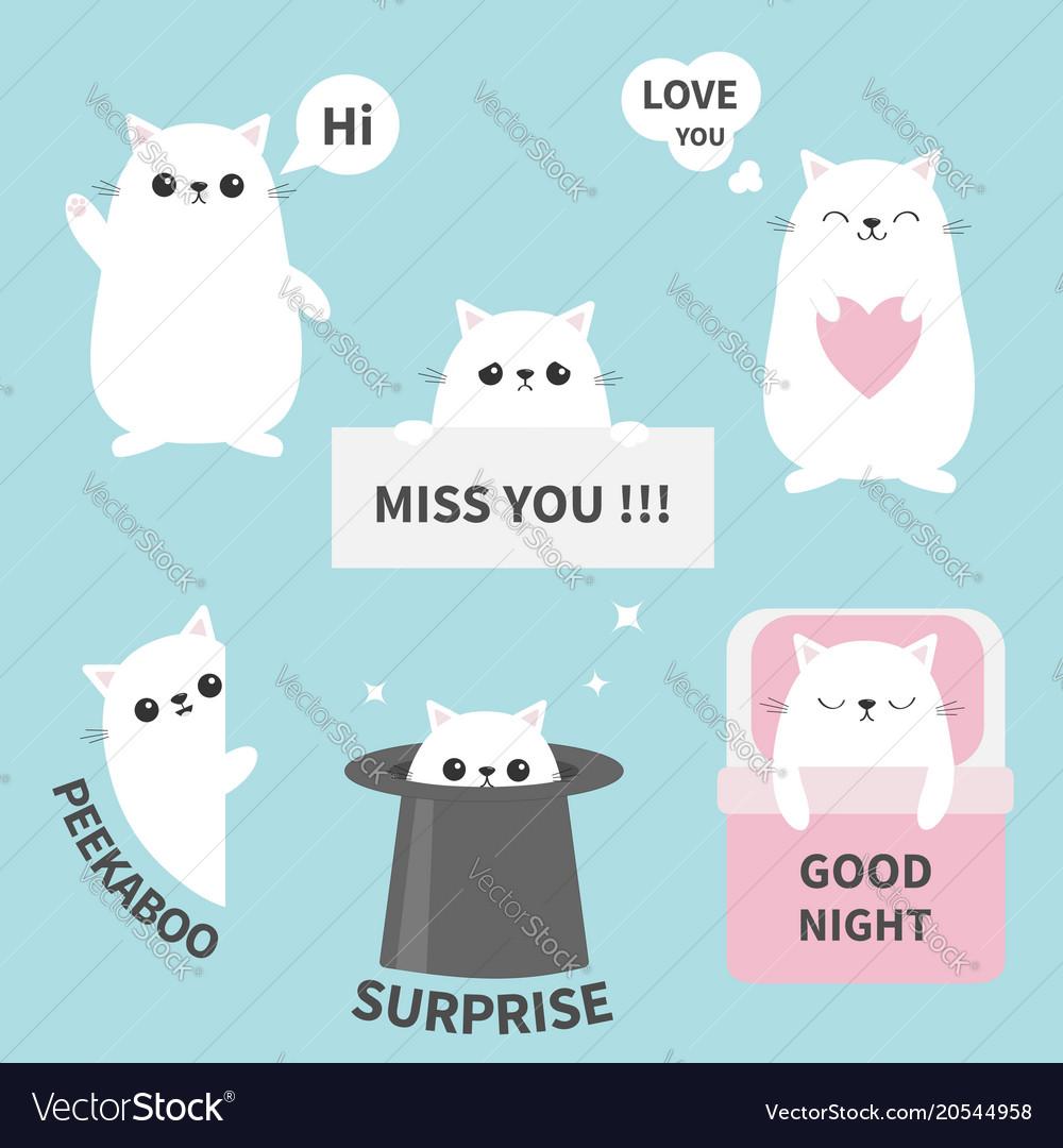 Cat kitten sticker emotion emoji icon set miss