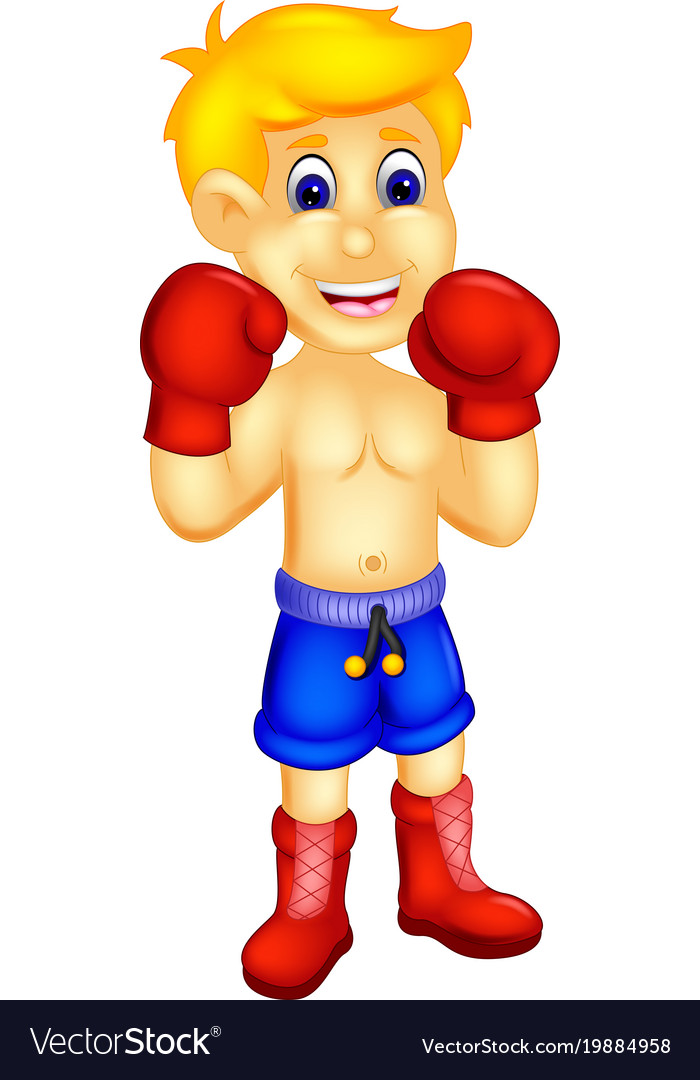 Cool boxer cartoon standing with smile